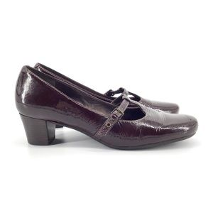 Ecco Plum Patent Leather Mary Janes
